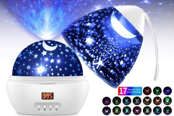 Esta lámpara norturna con el cielo estrellado es perfecto                               para dormir el bebe de 0 meses