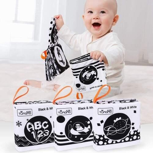 Libros de tela suave en blanco y negro para el bebe desde 1 mes