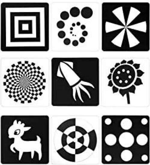 48 tarjetas blanco y negro para bebes de 1 mes
